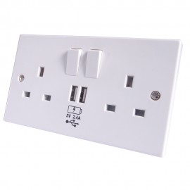 2 way UK power socket with USB charging plate White 2.4 Amp