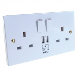2 Way UK Power Socket with USB Charging Plate