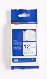 Brother 12mm Blue on White Fabric Labelling Tape (12mm x 3m) TZEFA3