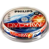 Philips 4x DVD+RW - Rewritable 4.7GB Blank DVDs - Branded Disc Surface 10 Disc Tub