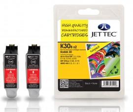 Kodak 30 Black Twin pack - Jet Tec Remanufactured Inkjet Cartridge K30B